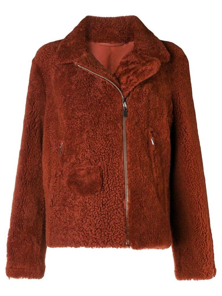 Arma zipped shearling jacket - Red