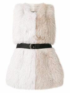 Blancha belted colour block fur vest - White