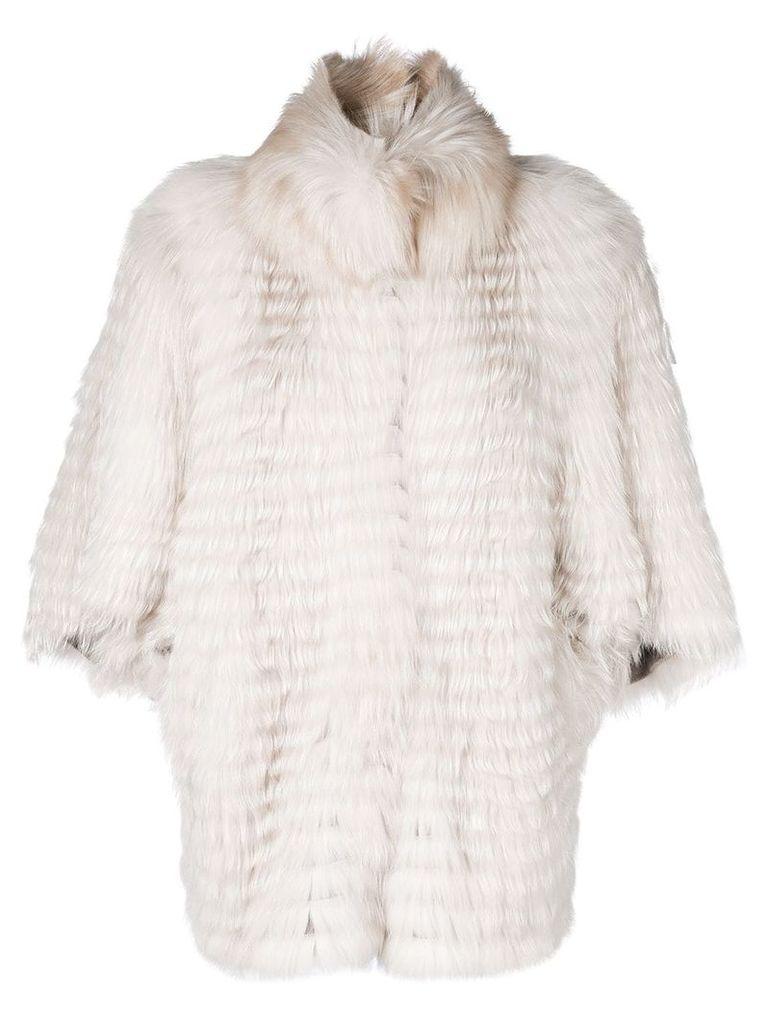 Liska striped cocoon jacket - White