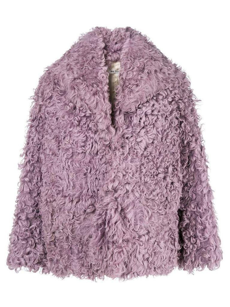 Miu Miu oversized shearling jacket - Pink & Purple