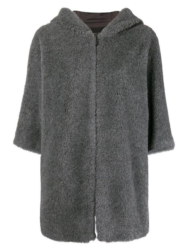 Fabiana Filippi hooded cropped sleeves jacket - Grey