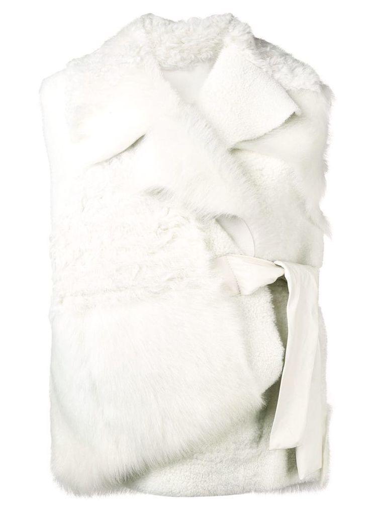 Drome waist-tied fur gilet - White