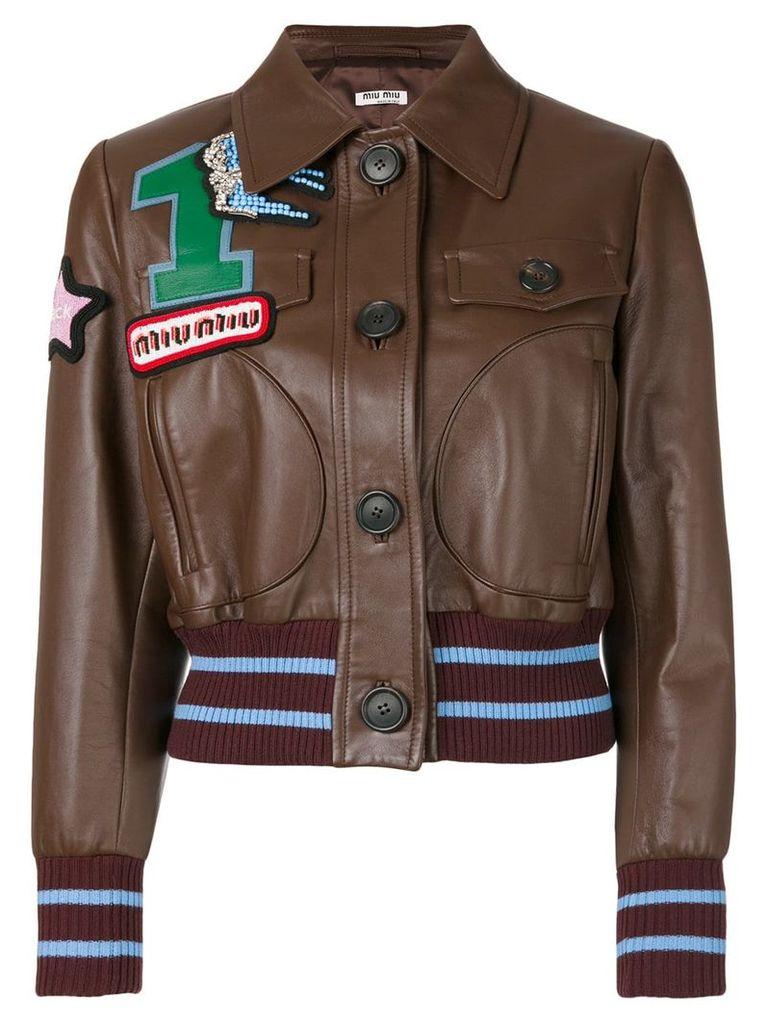 Miu Miu applique leather jacket - Brown