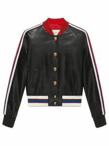 Gucci Embroidered leather bomber - Black