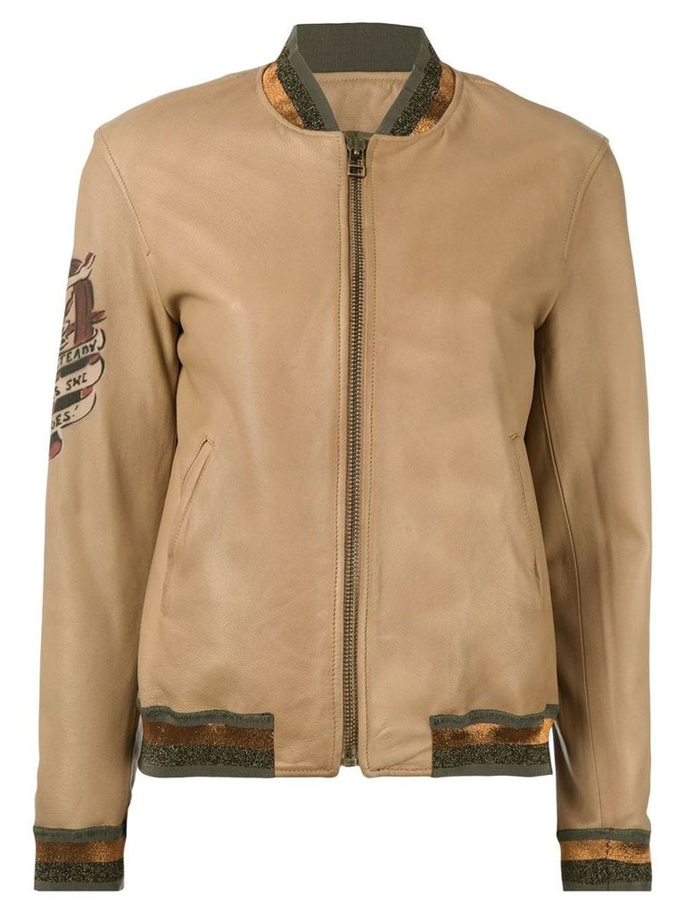 Mr & Mrs Italy tattoo-style print leather bomber - Brown