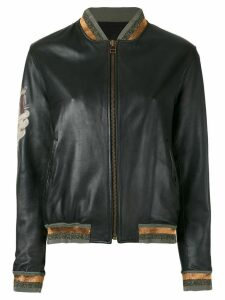 Mr & Mrs Italy tattoo-style print leather bomber - Black