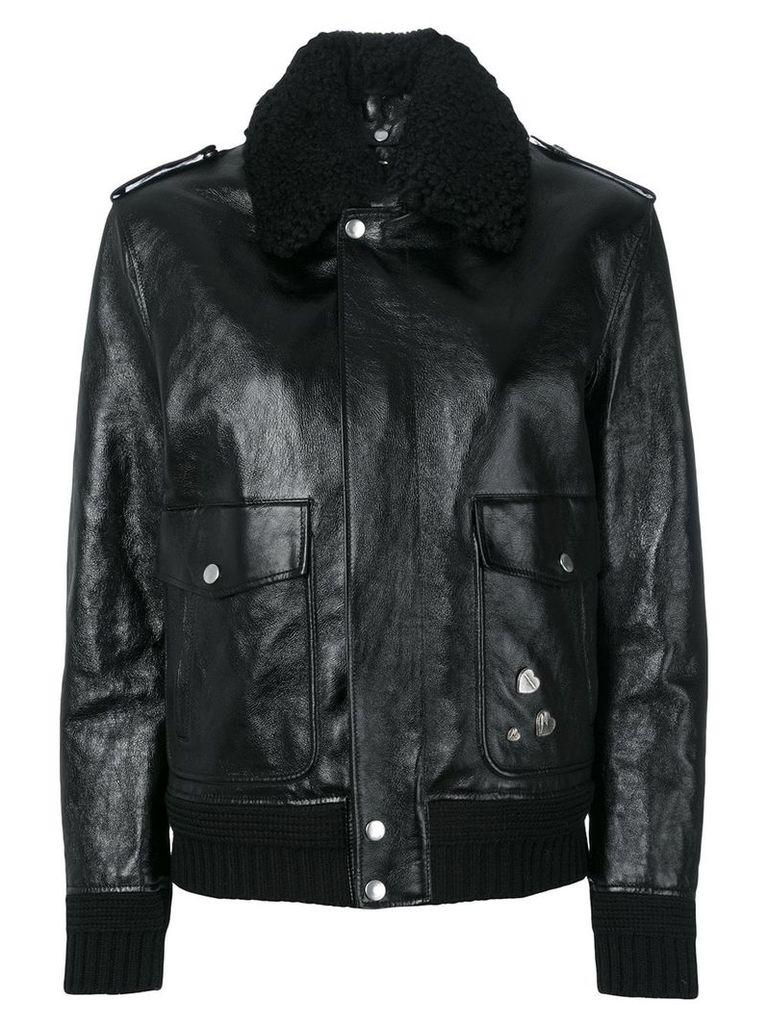 Saint Laurent shearling trim flight jacket - Black
