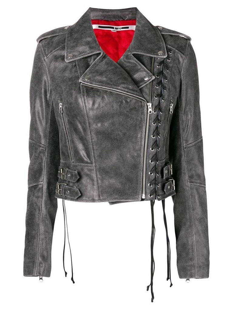 McQ Alexander McQueen longsleeved biker cropped jacket - Grey