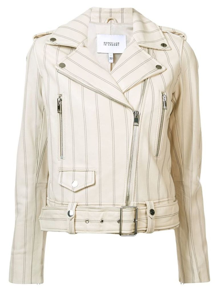 Derek Lam 10 Crosby Leather Jacket - Nude & Neutrals