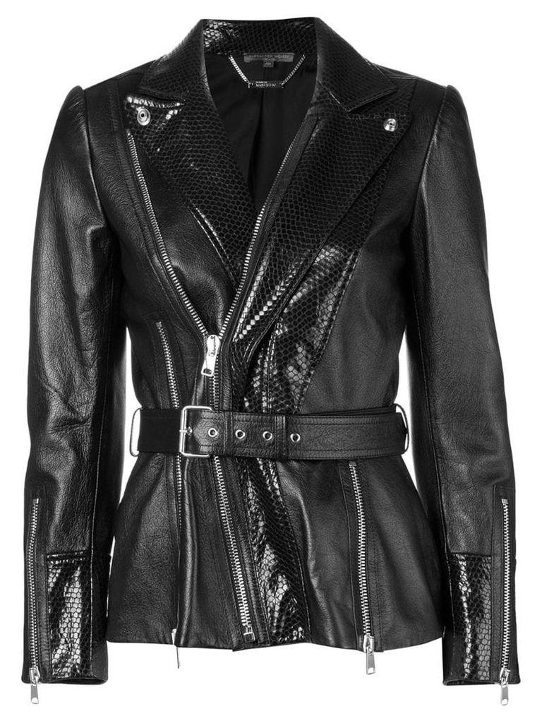 Alexander McQueen belted waist leather jacket - Black
