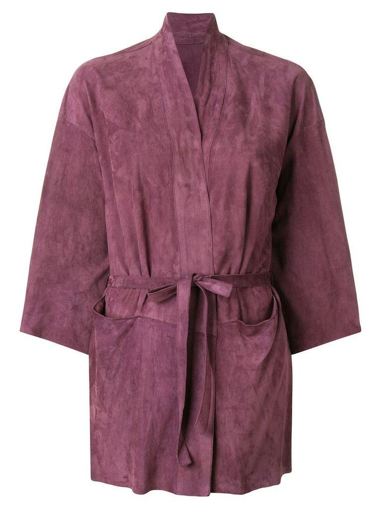 Salvatore Santoro belted jacket - Pink & Purple