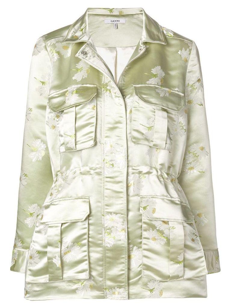 Ganni floral military jacket - Green