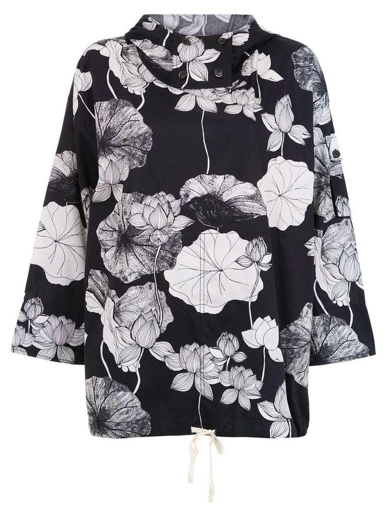 Sissa Floral Lotus printed oversized jacket - Black