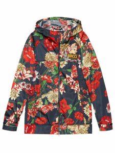 Gucci Spring bouquet nylon jacket - Blue