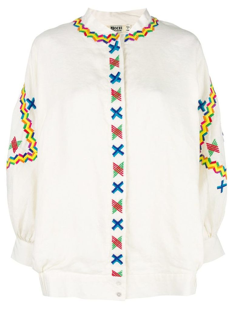 All Things Mochi embroidered details oversized jacket - White