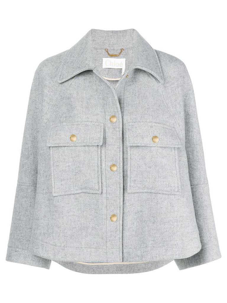 Chloé spread-collar cropped jacket - Grey