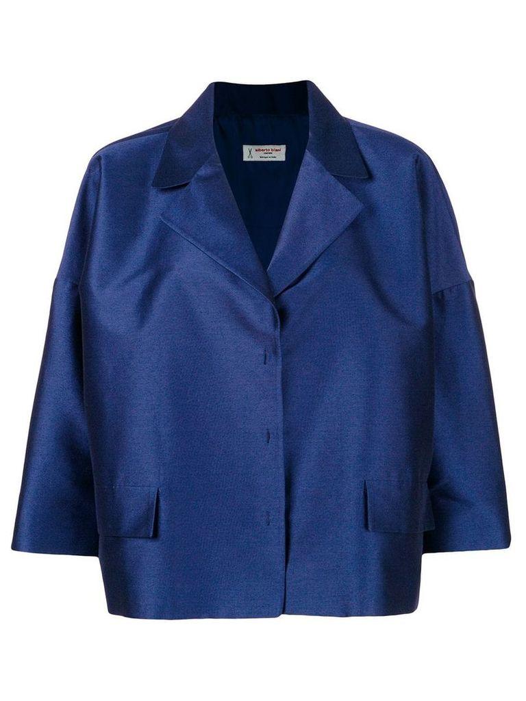 Alberto Biani oversized cropped jacket - Blue