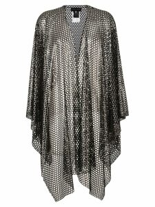 Talbot Runhof perforated mesh poncho - Black