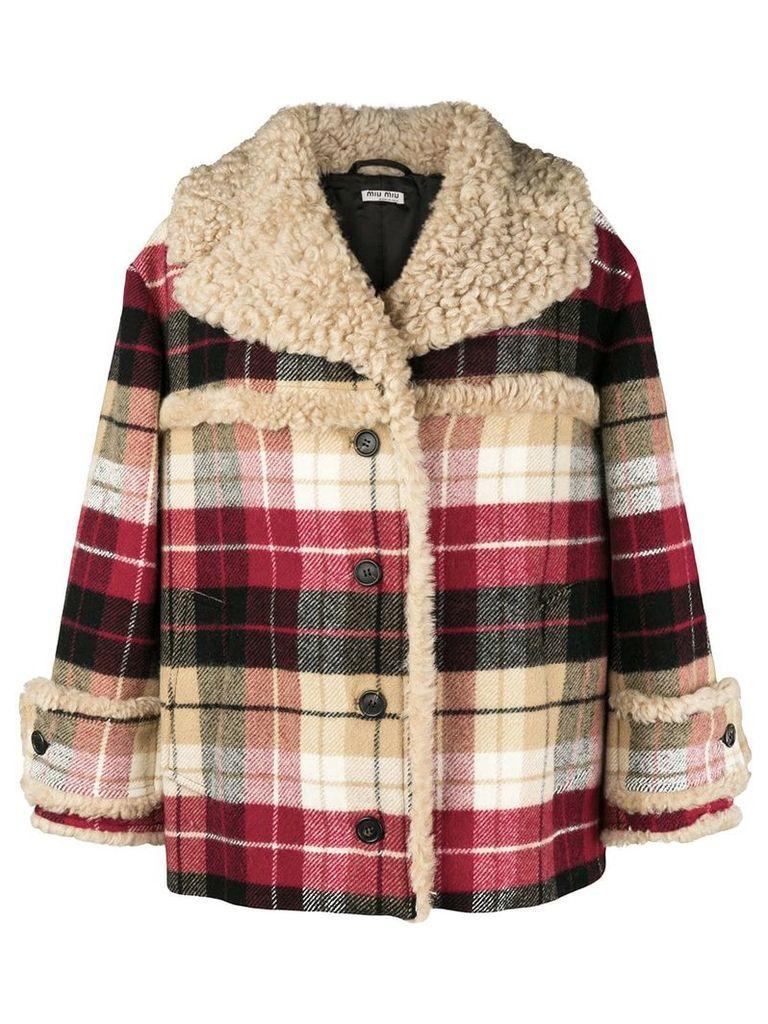 Miu Miu checked print oversized jacket - Nude & Neutrals