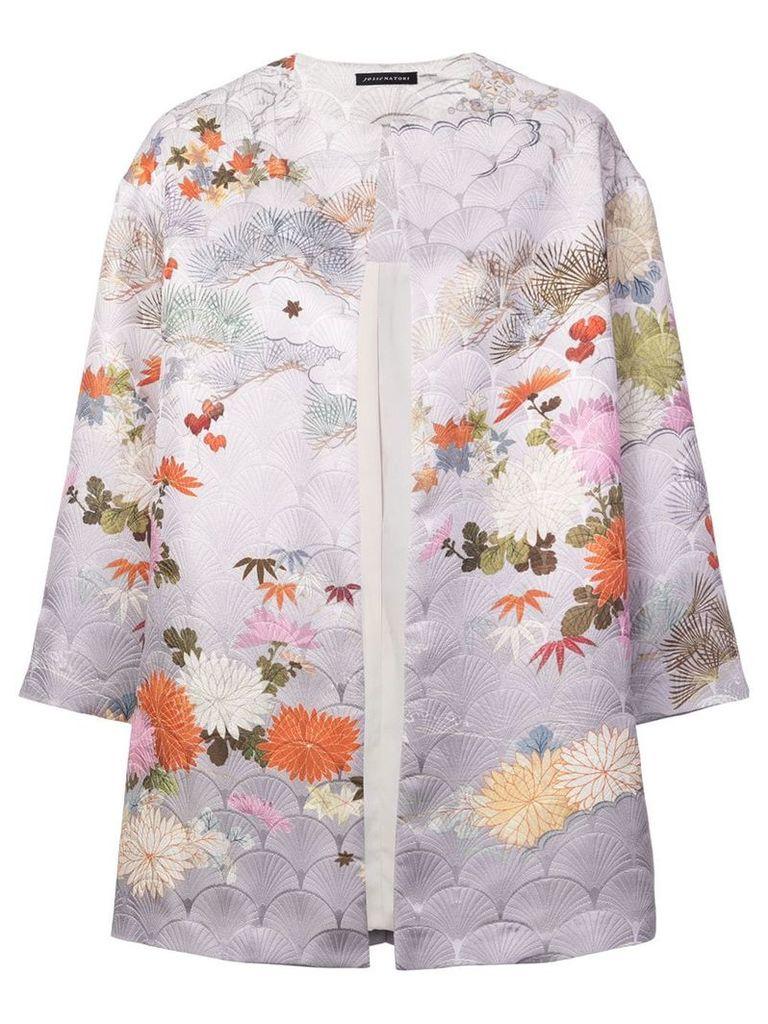 Josie Natori jacquard long jacket - Pink & Purple