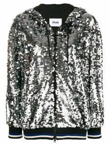MSGM sequin hooded jacket - Metallic