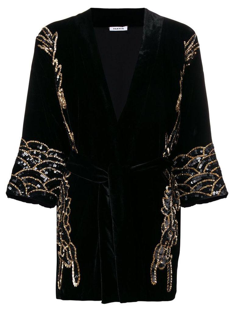 P.A.R.O.S.H. sequin-embellished velvet jacket - Black
