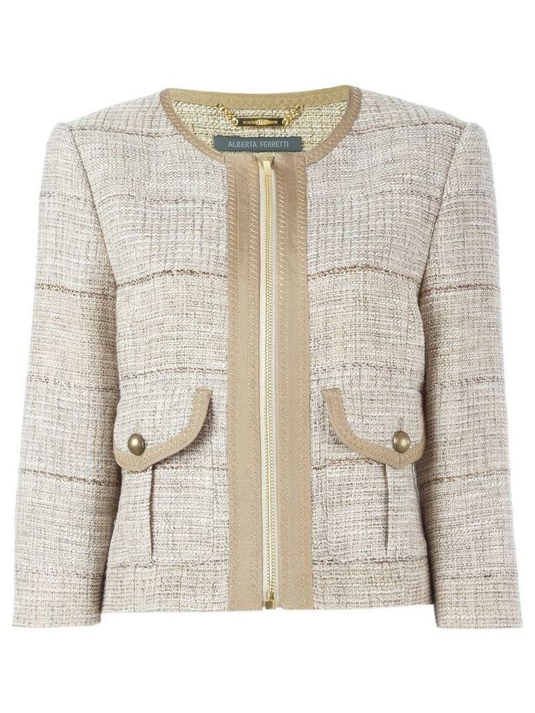 Alberta Ferretti tweed jacket - Nude & Neutrals