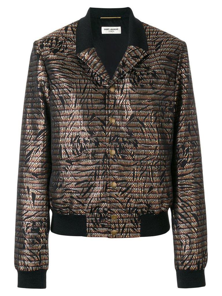 Saint Laurent embroidered fitted bomber jacket - Black