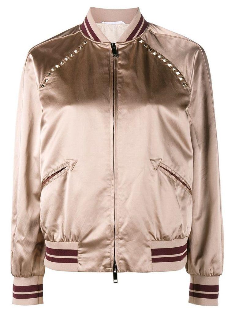 Valentino Rockstud bomber jacket - Pink & Purple