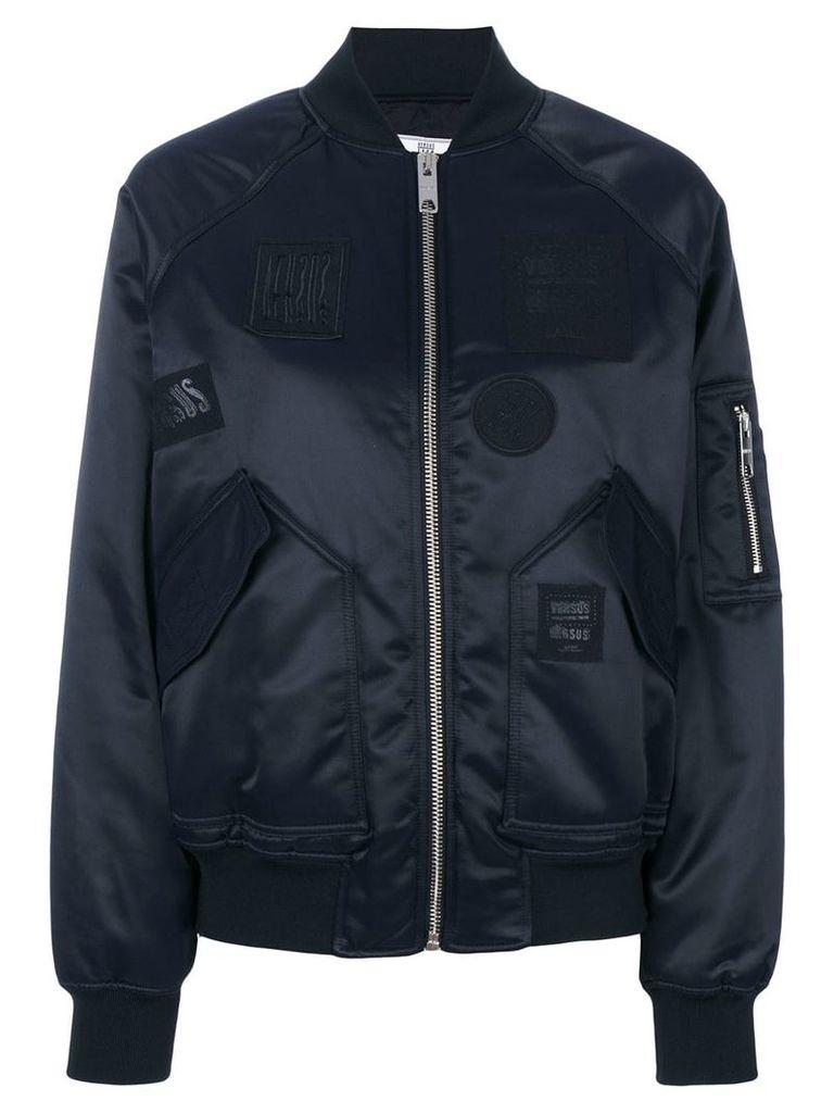 Versus patched bomber jacket - Blue
