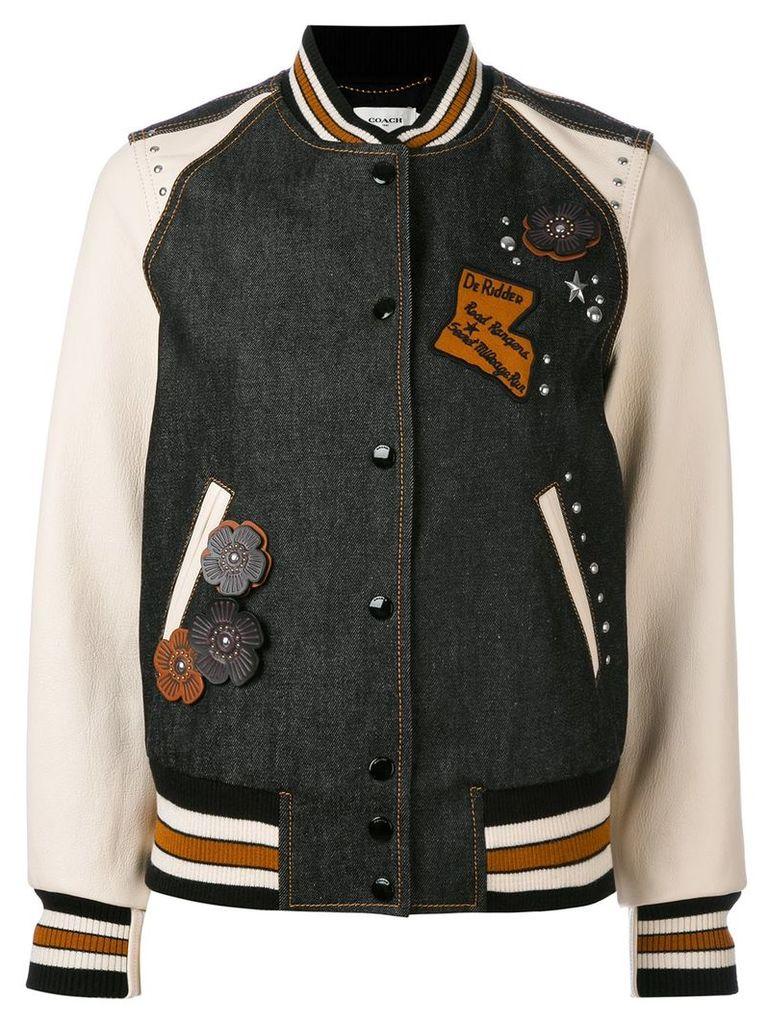 Coach embellished varsity jacket - Black