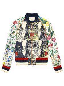 Gucci Patchwork print silk bomber - NEUTRALS