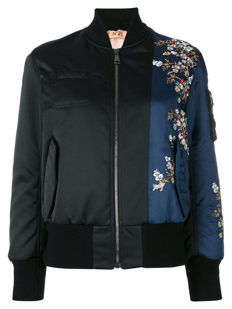 No21 flower embroidery bomber jacket - Black