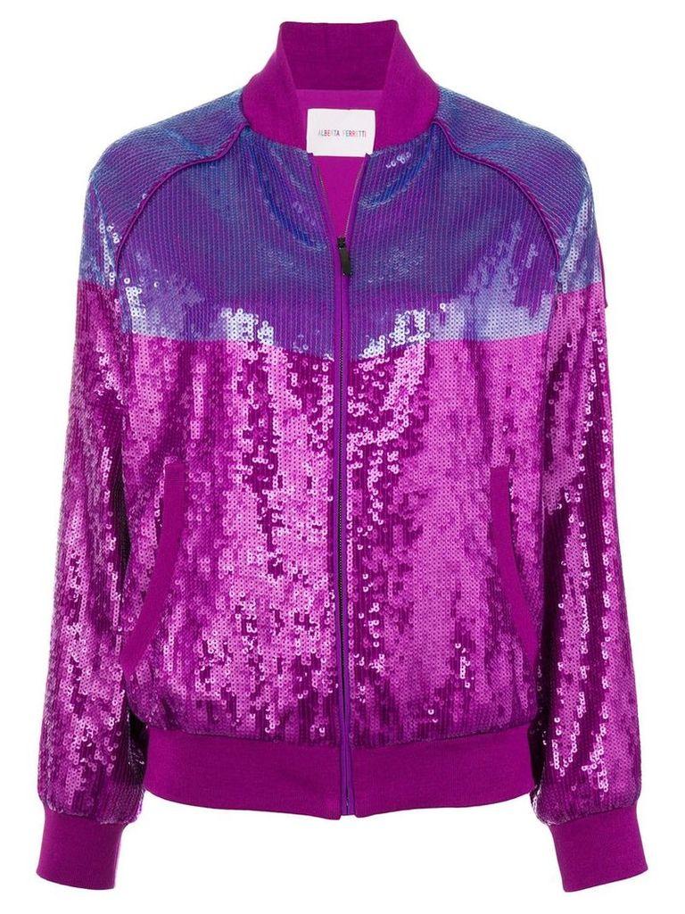 Alberta Ferretti sequins embellished bomber jacket - Pink & Purple