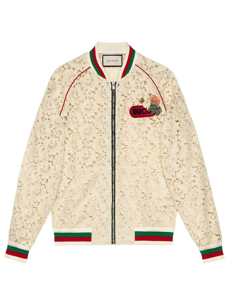 Gucci Flower lace bomber jacket - White