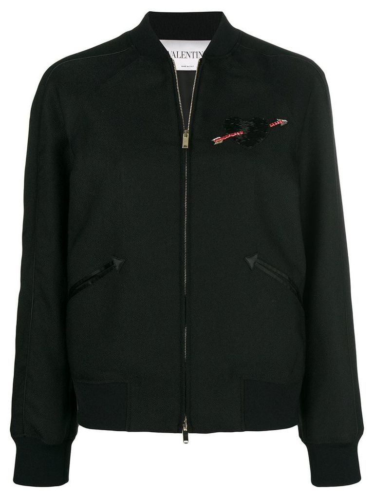 Valentino heart embroidered bomber jacket - Black