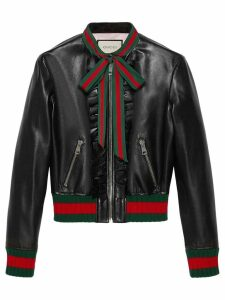 Gucci Ruffle leather bomber jacket - Black