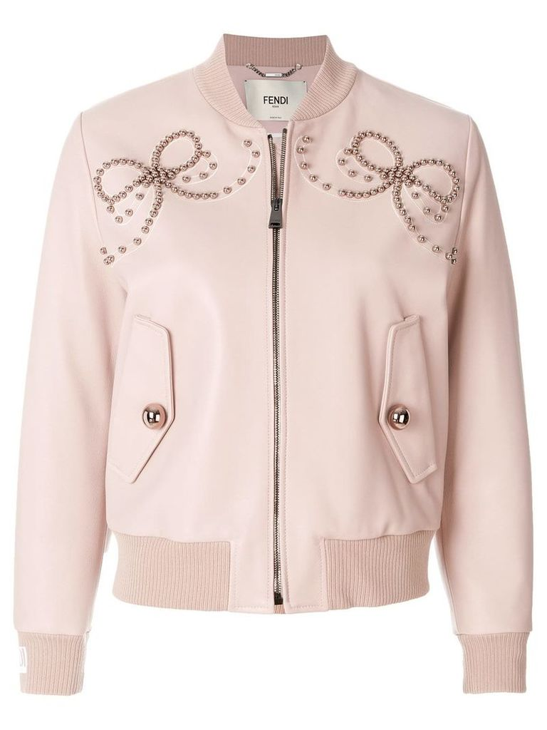 Fendi leather bomber jacket with double bow of pearls - Pink & Purple
