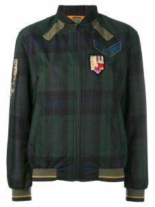 Mr & Mrs Italy plaid print bomber jacket - Blue