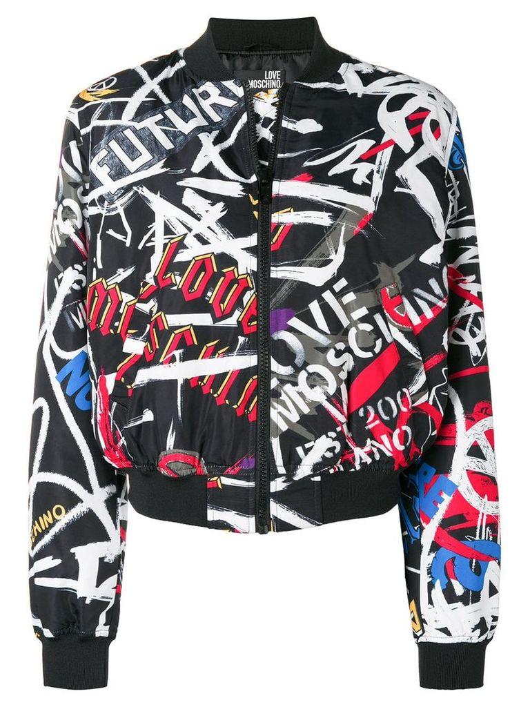 Love Moschino logo graffiti bomber jacket - Black