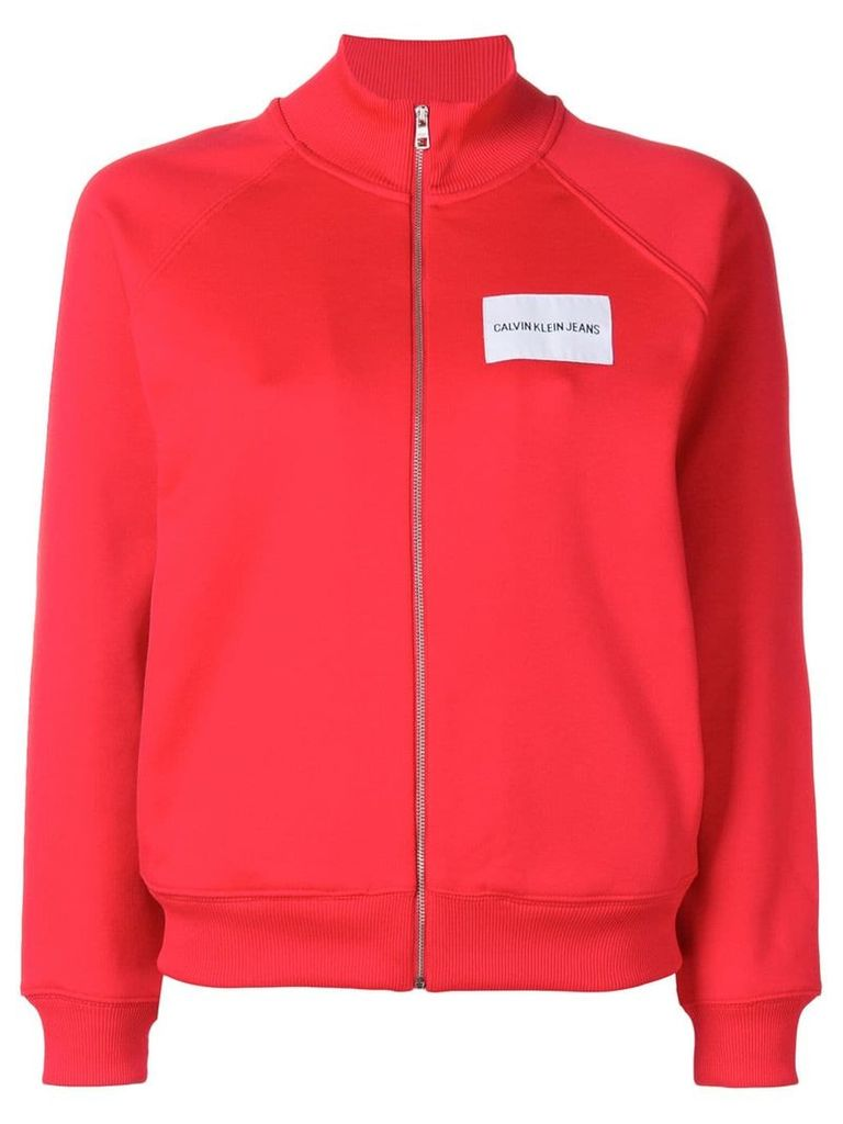Calvin Klein Jeans logo patch track jacket - Red