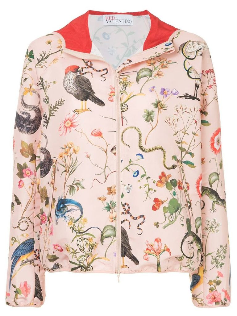 Red Valentino flora and fauna print hooded jacket - Pink & Purple