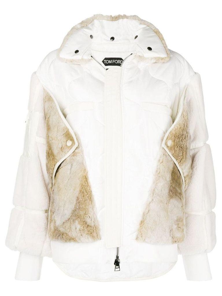 Tom Ford faux fur bomber jacket - White