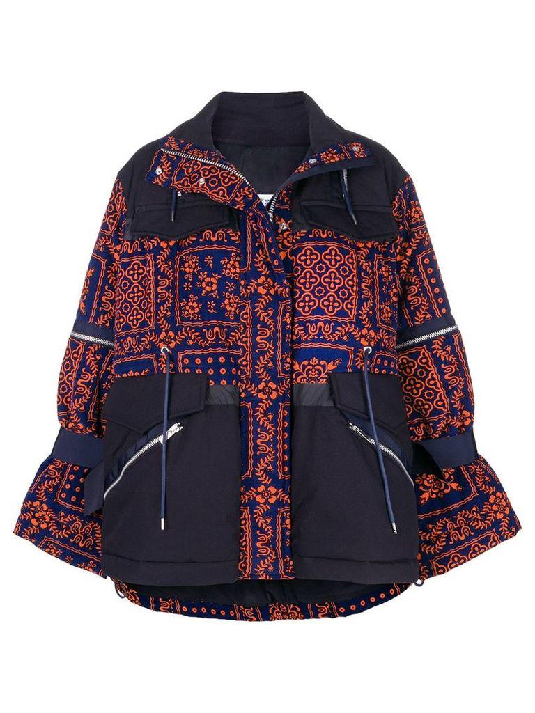 Sacai printed zipped jacket - Blue