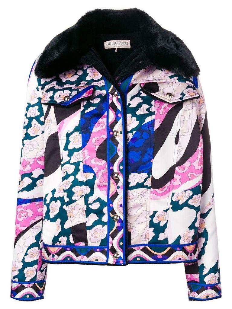 Emilio Pucci faux fur printed jacket - Pink & Purple