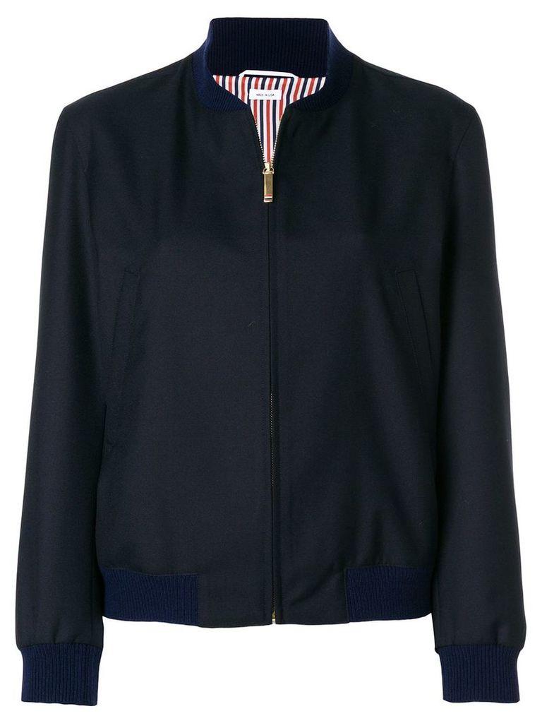 Thom Browne Engineered Stripe Wool Varsity Jacket - Blue