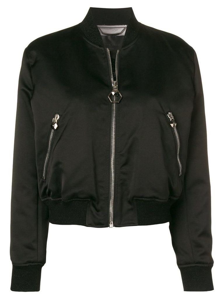 Philipp Plein skull embroidered bomber jacket - Black