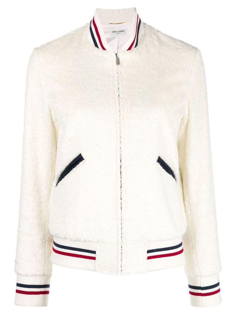 Saint Laurent Giubbotto varsity jacket - White