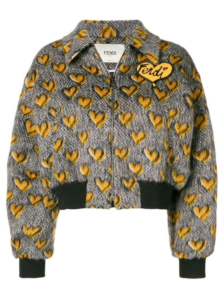Fendi jacquard hearts bomber jacket - Grey