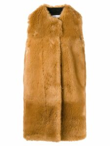 MSGM faux fur long gilet - Brown